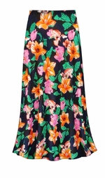 SOLD OUT! CLEARANCE! Sweet Lilies Slinky Print Plus Size & Supersize Skirt 1x/2x