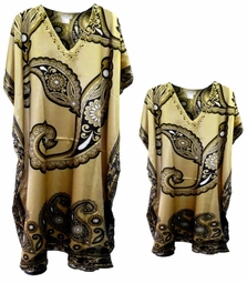 Sold Out!!!!Tan & Black Swirl Print Poly/Satin Plus Size & Supersize Caftan Dress or Shirt 1x to 6x