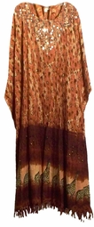 SOLD OUT! Tan & Brown & Silver Bling! Leopard Sequins Rayon Plus Size & Supersize Caftan Dress 1x to 6x