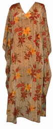 SOLD OUT! Tan Floral Poly/Satin Plus Size & Supersize Caftan Dress Fits 1x to 6x