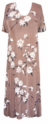 SOLD OUT! Tan & White Floral Slinky Plus Size & Supersize Customizable Dresses Shirts & Jackets Lg to 9x