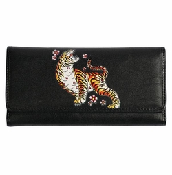 SOLD OUT! Tattoo Print Tiger W/ Flowers Synthetic Leather Wallet