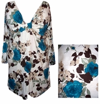SOLD OUT!!!! Teal Roses Beige Crinkle Sexy Low-Cut Flutter Sleeve