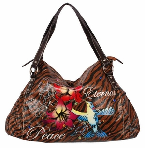 SOLD OUT! Tiger Print Floral Hummingbird Tattoo  Eternal Peace  w/ Rhinestones Faux Leather Purse