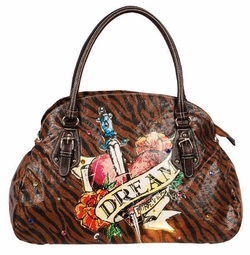 SOLD OUT! Tiger Print Tattoo Heart Dream w/ Rhinestones Faux Leather Purse