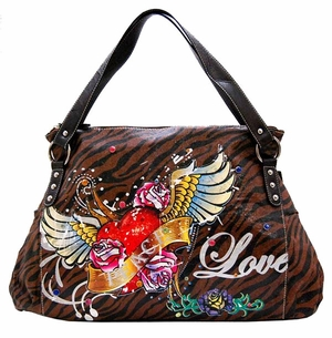 SOLD OUT! Tiger Print Tattoo Heart Peace Forever w/ Rhinestones Faux Leather Purse
