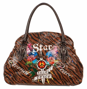 SOLD OUT! Tiger Print Tattoo Print Star Eternal Peace w/ Rhinestones Faux Leather Purse