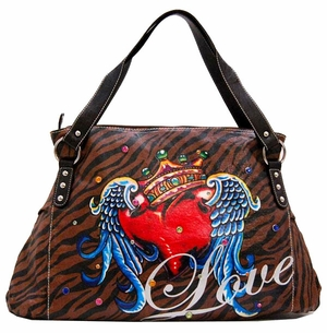 SOLD OUT!!! Tiger Print Tattoo Winged Heart Love w/ Rhinestones Faux Leather Purse