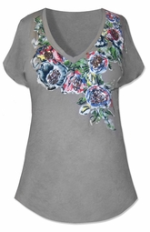 SOLD OUT!!!!!!Torrid Gray Plus Size Top With Floral Neckline and Sequin Detail