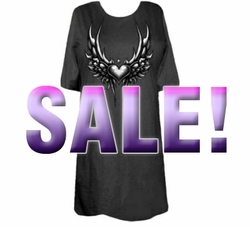 SOLD OUT! SALE! Tribal Wing Heart Black Plus Size T-Shirts 4xl