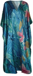 SOLD OUT!!!!!Tropical Aqua Floral Poly/Satin Plus Size & Supersize Caftan Dress 1x to 6x