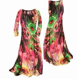 SOLD OUT! Tropical Night Feathers Swirl Print Slinky Plus Size & Supersize Standard or Cascading A-Line or Princess Cut Dresses & Shirts, Jackets, Pants, Palazzo's or Skirts Lg to 9x