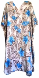 Sold Out!!! Turquoise Blue Floral Animal Print Poly/Satin Plus Size & Supersize Caftan Shirt / Dress 1x to 6x