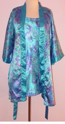 SOLD OUT! Turquoise & Purple Paisley Plus Size Nighty & Robe Set 1x