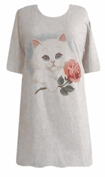 SOLD OUT!!!!!White Kitten Rose Plus Size & Supersize T-Shirts