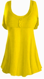 SOLD OUT!!!!Yellow Cotton Lycra Mock Button or Plain Top Short Sleeve Shirt