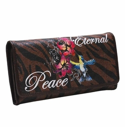 SOLD OUT! Zebra Edith Tattoo Print Eternal Peace Hummingbrid Synthetic Leather Wallet