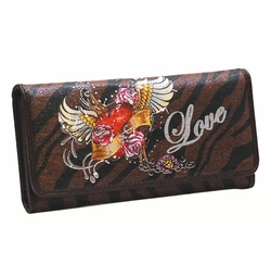 SOLD OUT!!! Zebra Edith Tattoo Print Peace & Love Synthetic Leather Wallet