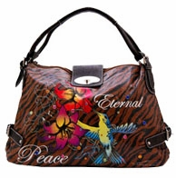 SOLD OUT! Zebra Print Tattoo Eternal Peace Hummingbird w/ Rhinestones Faux Leather Hobo Purse