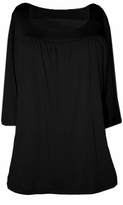 SOLD OUTSALE! Black Yummy Soft Square Neck 3/4 Sleeves Plus Size Babydoll Top