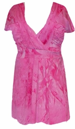 SOLDOUT!!CLEARANCE! Pink Tiedye Slinky Plus Size Babydoll Top