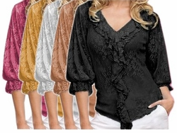 SOLDOUT!!CLEARANCE! Yellow or Pink Stretch Lace Plus Size Blouse