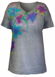 SOLDOUT!!New!  Adorable Gray Floral Graphic Top