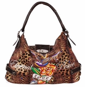 SOLDOUT!!!New! Leopard Print Rose Tattoo  Eternal Peace & Love w/ Rhinestones Faux Leather Purse