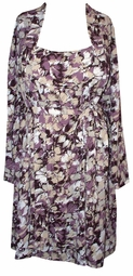 SOLDOUT!!New! Pretty Purple & Beige Floral Watercolor Plus Size Nighty & Robe Set