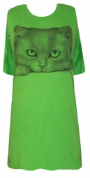 SOLDOUT!!!!SALE! Big Green Eyed Kitty Face T-Shirts 4xl Plus Size & 5x Princess Cut Supersize