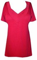 SOLD OUT!!SALE! Red Soft V-Neckline with Crystal Details Plus Size Top