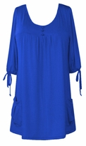 SOLD OUT!!SALE! Royal Blue Slinky Pocket Babydoll Plus Size Tops