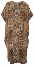 SOLDOUT!!Tan Safari Giraffe Zebra Print Georgette Plus Size & Supersize Caftan Dress 1x to 6x