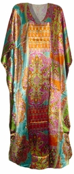 SOLD OUT! SALE! Lovely 1960s Style Print Poly/Satin Plus Size & Supersize Caftan Dress 1x to 6x