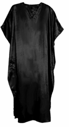 SOLD OUT! - SEE CT-5007-SOLID-IH Solid Black Satin Plus Size & Supersize Caftan Dress 1x to 6x
