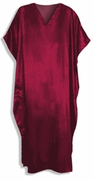 Solid Burgundy Satin Plus Size & Supersize Caftan Dress Fits 1x 2x 3x 4x 5x 6x