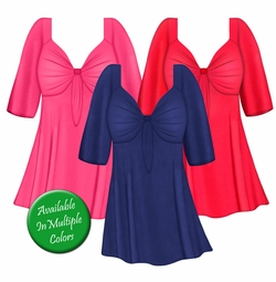 Solid Color Black Brown Blue Green Pink Purple White Slinky Plus Size Tie Babydoll Shirt Lg XL 1x 2x 3x 4x 5x 6x 7x 8x
