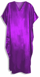 Solid Purple Satin Plus Size & Supersize Caftan Dress Fits 1x 2x 3x 4x 5x 6x
