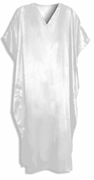 SOLD OUT! - SEE CT-5007-SOLID-IH  Solid White Satin Plus Size & Supersize Caftan Dress Fits 1x 2x 3x 4x 5x 6x