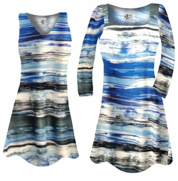 SALE! Customizable Ocean Blue Lines Slinky Print Plus Size & Supersize Short or Long Sleeve Shirts - Tunics - Tank Tops - Sizes Lg XL 1x 2x 3x 4x 5x 6x 7x 8x 9x