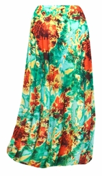 SALE! Customizable Red, Yellow, & Green Tie Dye Slinky Print Plus Size & Supersize Skirts - Sizes Lg XL 1x 2x 3x 4x 5x 6x 7x 8x 9x
