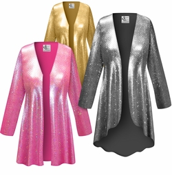 NEW! Customizable Metallic Spangle Sequin Slinky Print Plus Size & Supersize Jackets & Dusters - Sizes Lg XL 1x 2x 3x 4x 5x 6x 7x 8x 9x