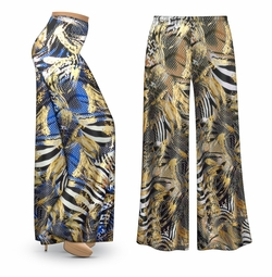 SALE! Customizable Metallic Zebra Slinky Print Plus Size & Supersize Palazzo Pants - Tapered Pants  - Sizes Lg XL 1x 2x 3x 4x 5x 6x 7x 8x 9x