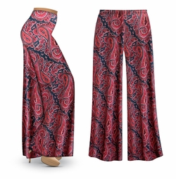 SOLD OUT! SALE! Customizable Berry Navy Paisley Slinky Print Plus Size & Supersize Palazzo Pants - Capri's - Sizes Lg XL 1x 2x 3x 4x 5x 6x 7x 8x 9x