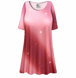 Customizable Rosy Glitter Slinky Print Plus Size & Supersize Short or Long Sleeve A-Line Shirts - Tunics - Tank Tops - Sizes Lg XL 1x 2x 3x 4x 5x 6x 7x 8x 9x