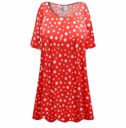 SALE! Customizable Red With White Polka Dots Glittery Slinky Print Plus Size & Supersize Short or Long Sleeve Shirts - Tunics - Tank Tops - Sizes Lg XL 1x 2x 3x 4x 5x 6x 7x 8x 9x