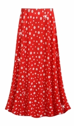 SOLD OUT! NEW! Customizable Red With White Polka Dots Glittery Slinky Print Plus Size & Supersize Skirts - Sizes Lg XL 1x 2x 3x 4x 5x 6x 7x 8x 9x