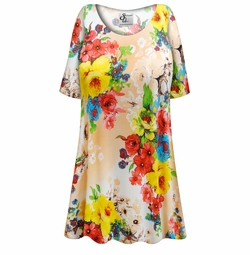 SALE! Customizable Peachy Florals Slinky Print Plus Size & Supersize Short or Long Sleeve Shirts - Tunics - Tank Tops - Sizes Lg XL 1x 2x 3x 4x 5x 6x 7x 8x 9x