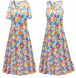 SOLD OUT! SALE! Customizable Sunday Morning Floral Slinky Print Plus Size & Supersize Short or Long Sleeve Dresses & Tanks - Sizes Lg XL 1x 2x 3x 4x 5x 6x 7x 8x 9x