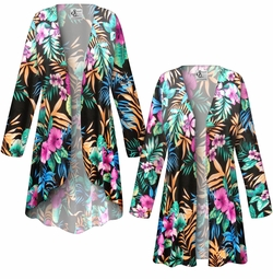SOLD OUT! SALE! Customizable Black With Tropical Flowers Slinky Print Plus Size & Supersize Jackets & Dusters - Sizes Lg XL 1x 2x 3x 4x 5x 6x 7x 8x 9x